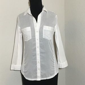 Club Monaco Cotton Fitted Button Down White Sz S